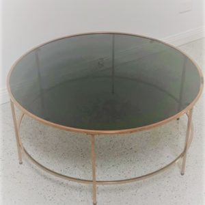 round coffee table with tinted glass